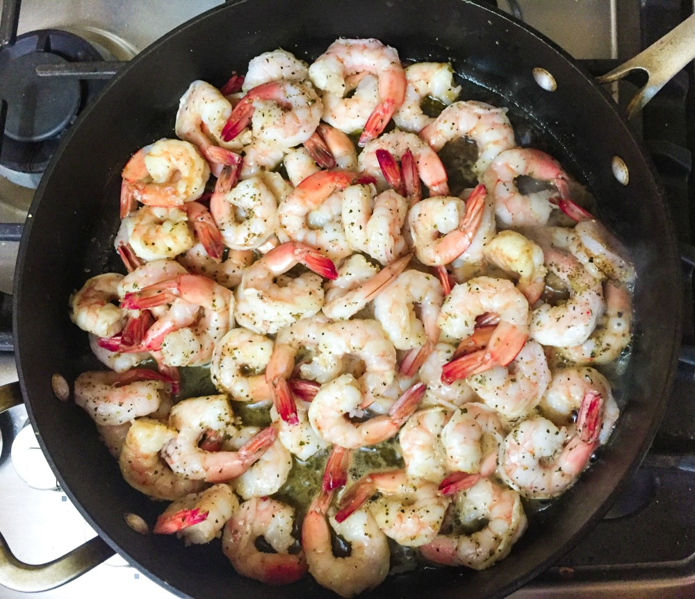 skillet of best shrimp scampi made from easy shrimp scampi recipe