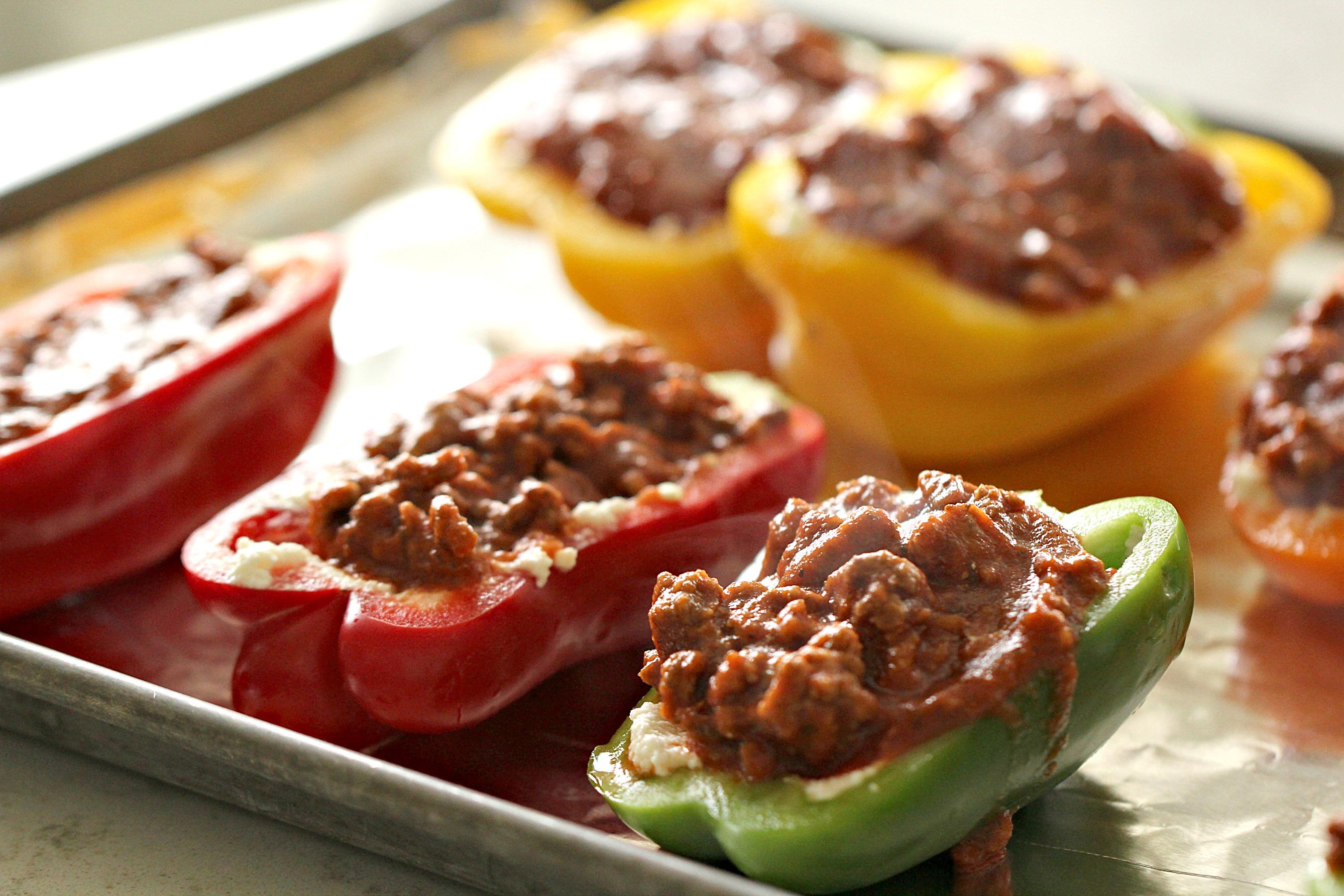 Ground Turkey Lasagna Stuffed Peppers on baking sheet