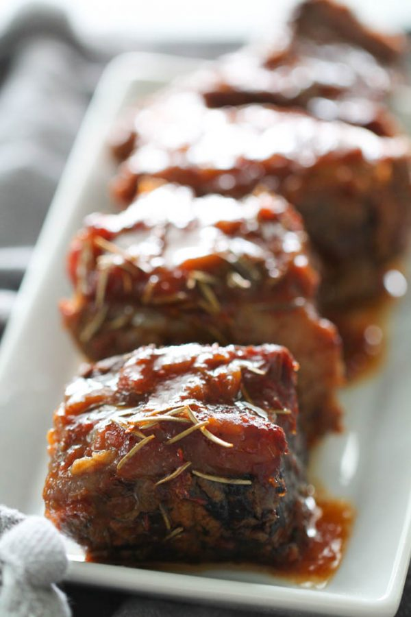 Cooked Slow cooker short ribs on a platter