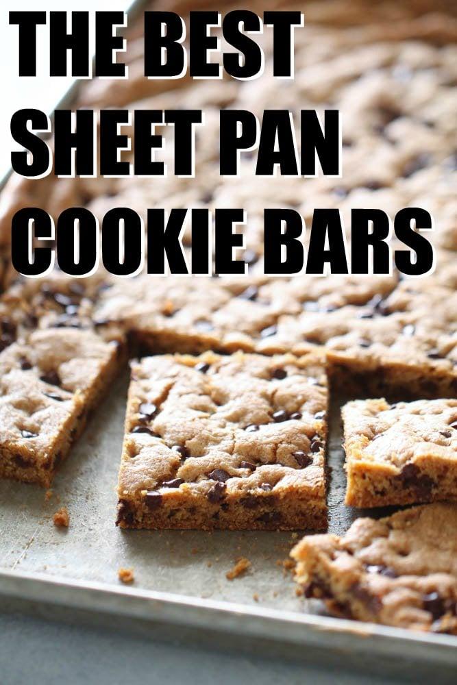 Sheet Pan Chocolate Chip Cookie Bars sliced on sheet pan