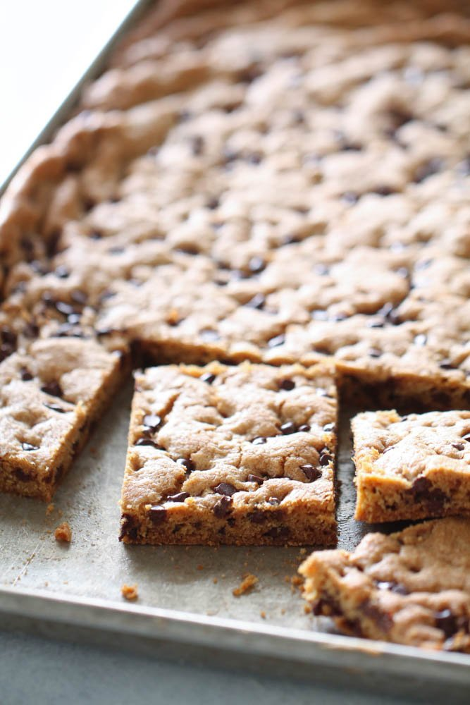 Sheet Pan Chocolate Chip Cookie Bars