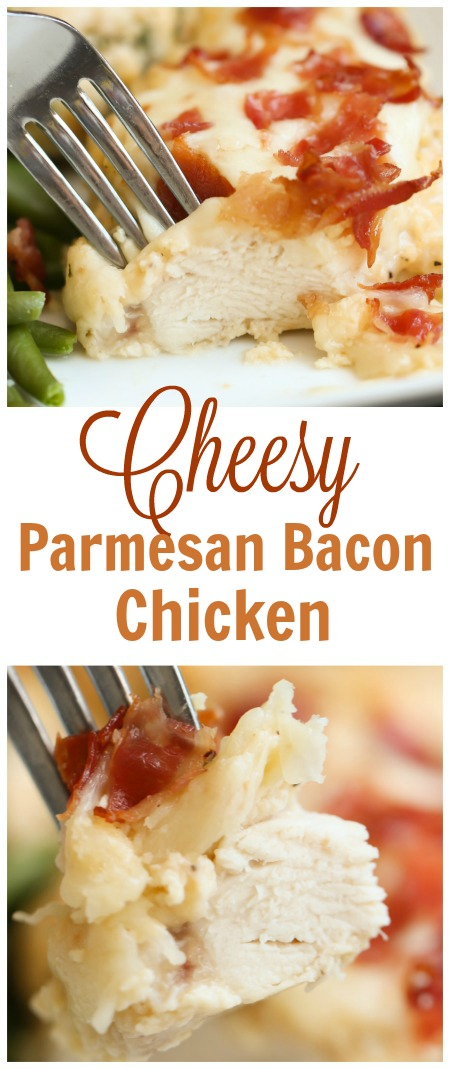 A piece of Cheesy Parmesan Bacon Chicken on a fork