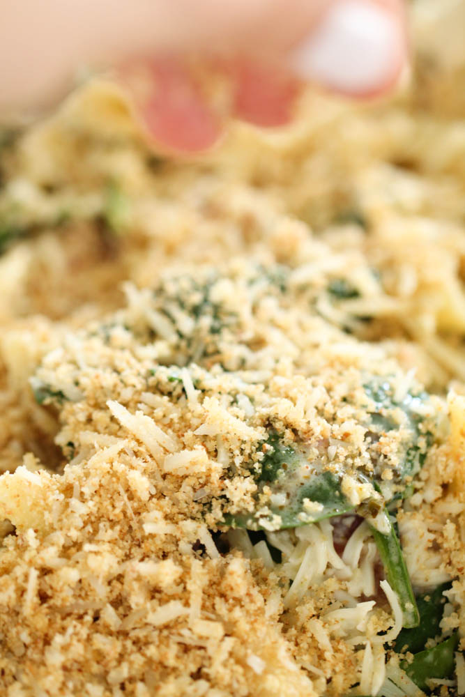 close up view of uncooked pasta chicken casserole