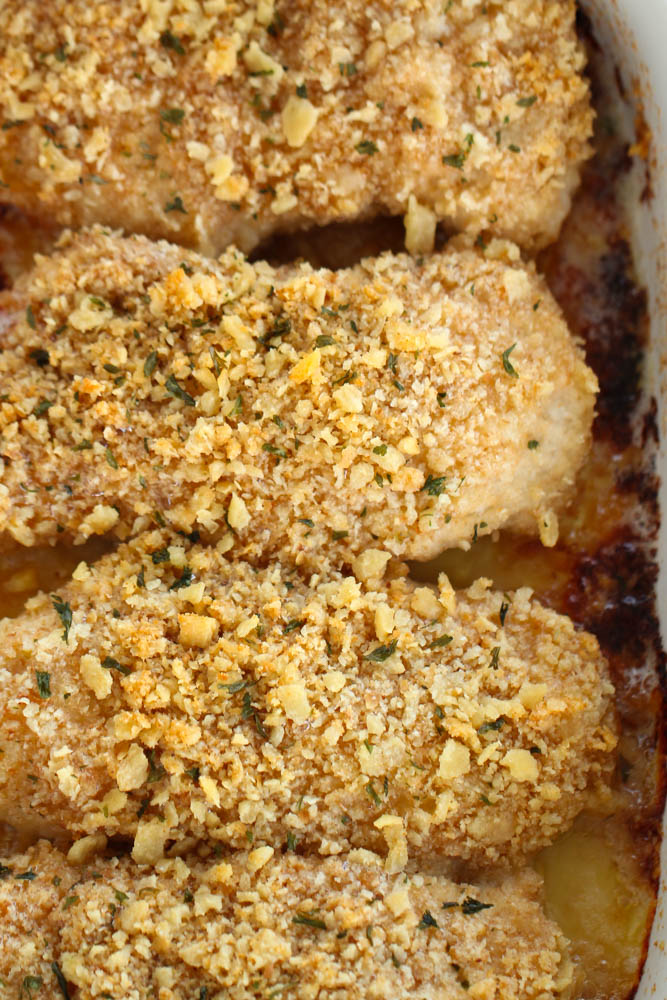 baked saltine cracker chicken cooking in a pan