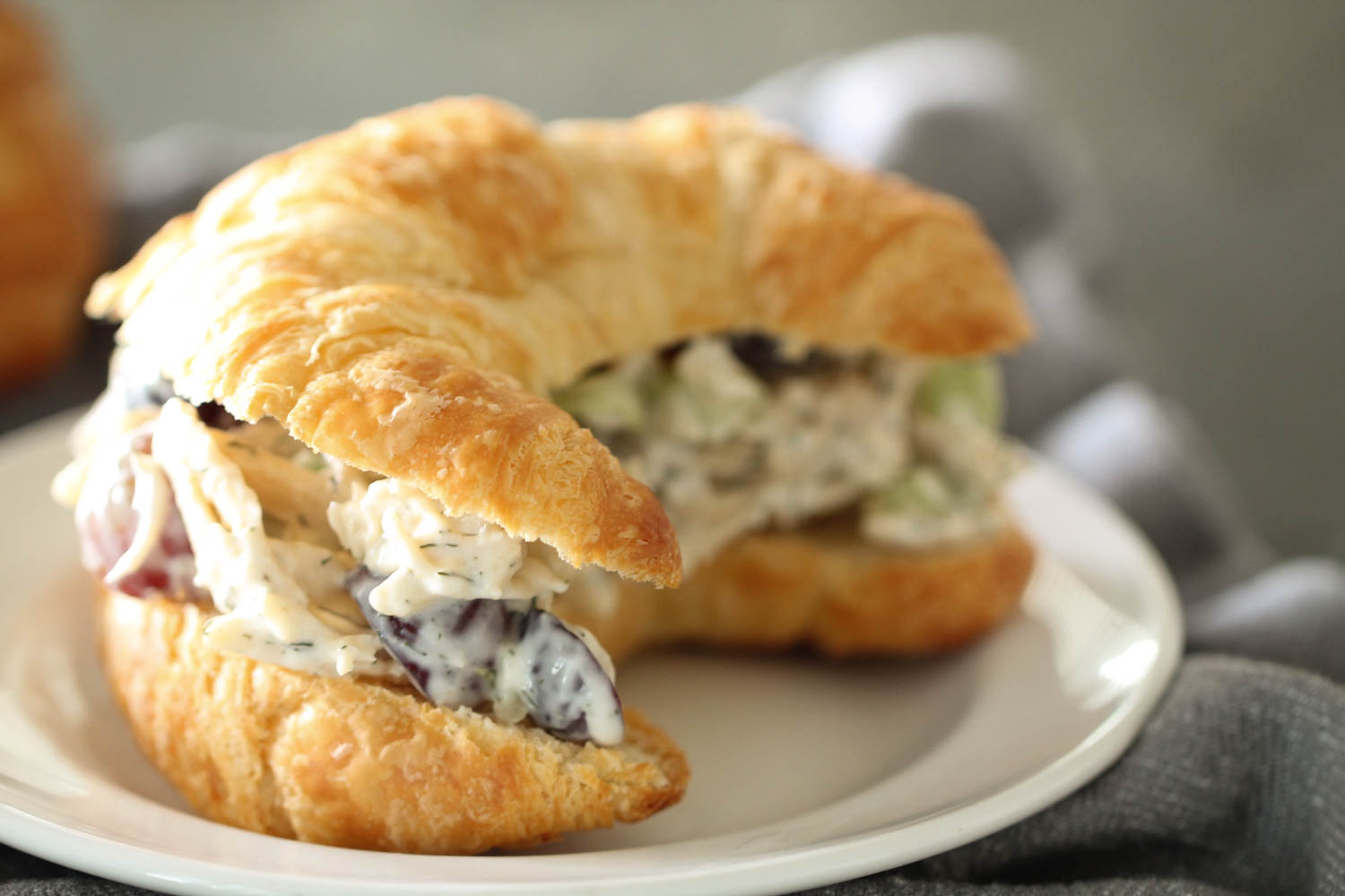 Mom's Ranch Chicken Salad Sandwiches in a croissant roll