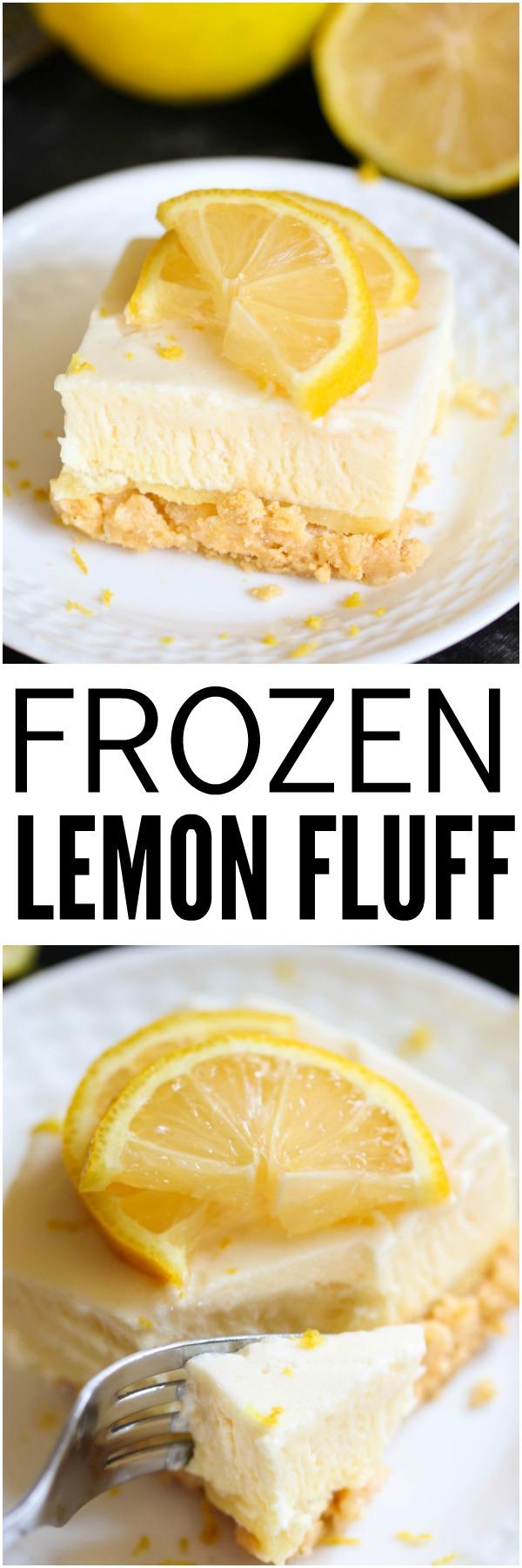 Frozen Lemon Fluff Dessert on a white plate topped with lemon slices
