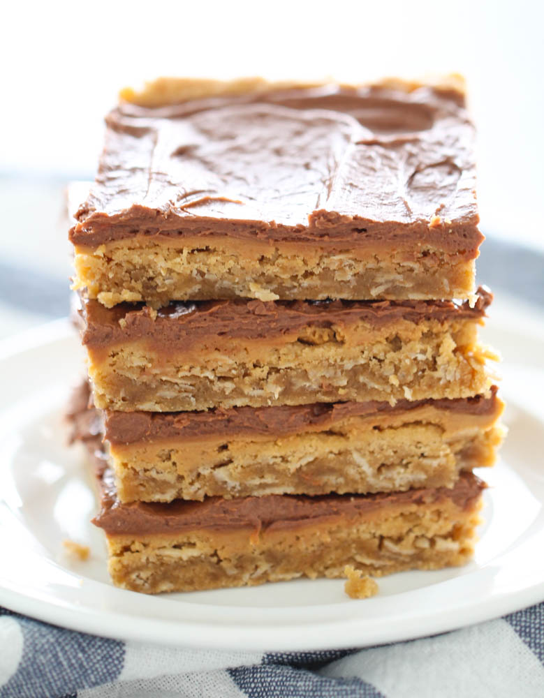 Lunch Lady Peanut Butter Bars Sliced and Stacked