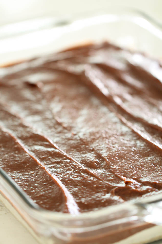 Chocolate layer in pudding cake