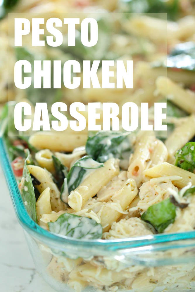 pesto chicken casserole with pasta ready to bake in oven