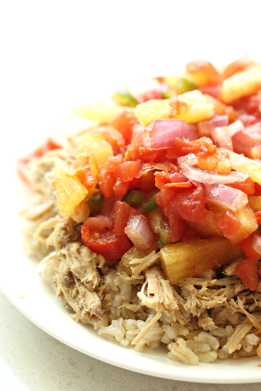 Slow Cooker Caribbean Jerk Pork and Salsa