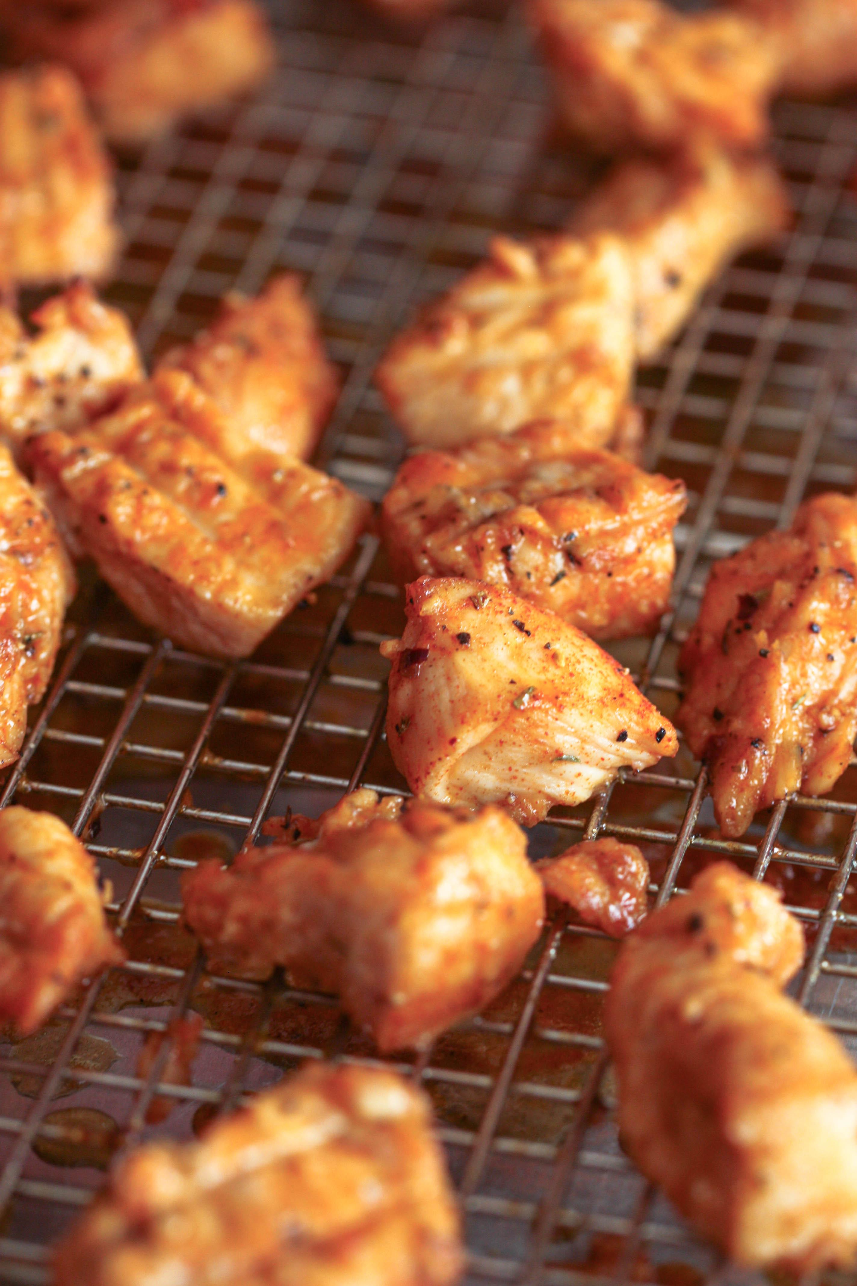 Buffalo Chicken Bites on cooling rack