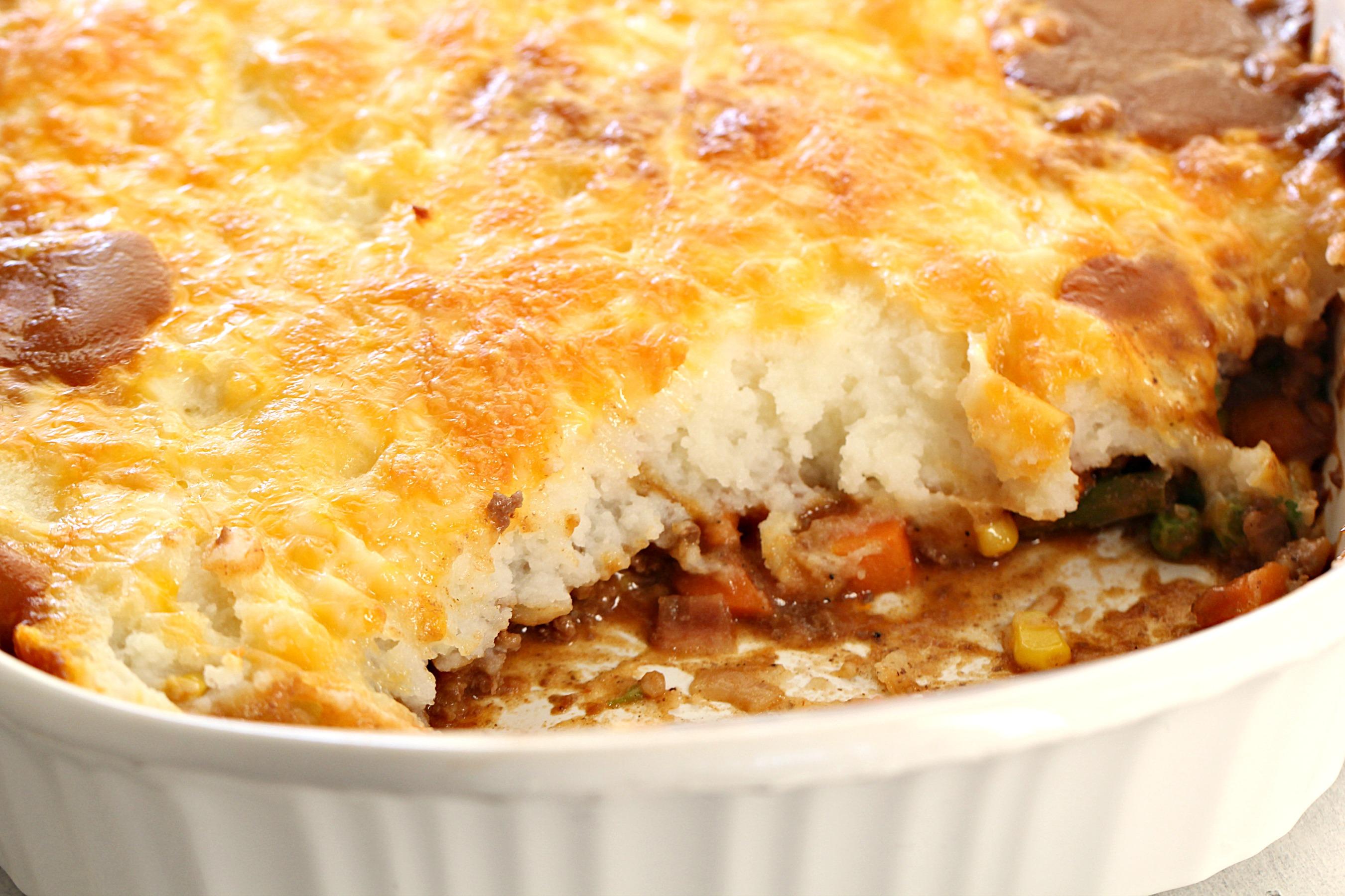 Shepherd's Pie in a white casserole dish