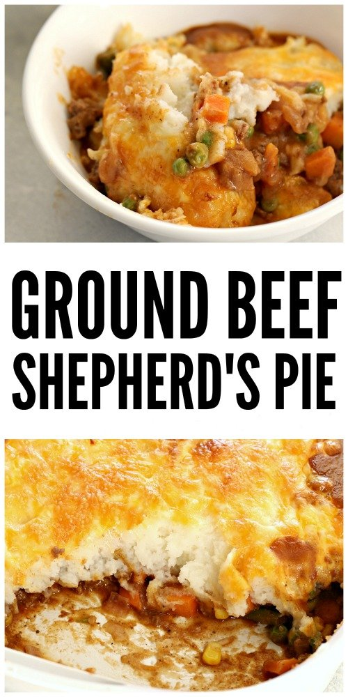 Ground beef shepherd's pie in a bowl and in a casserole dish