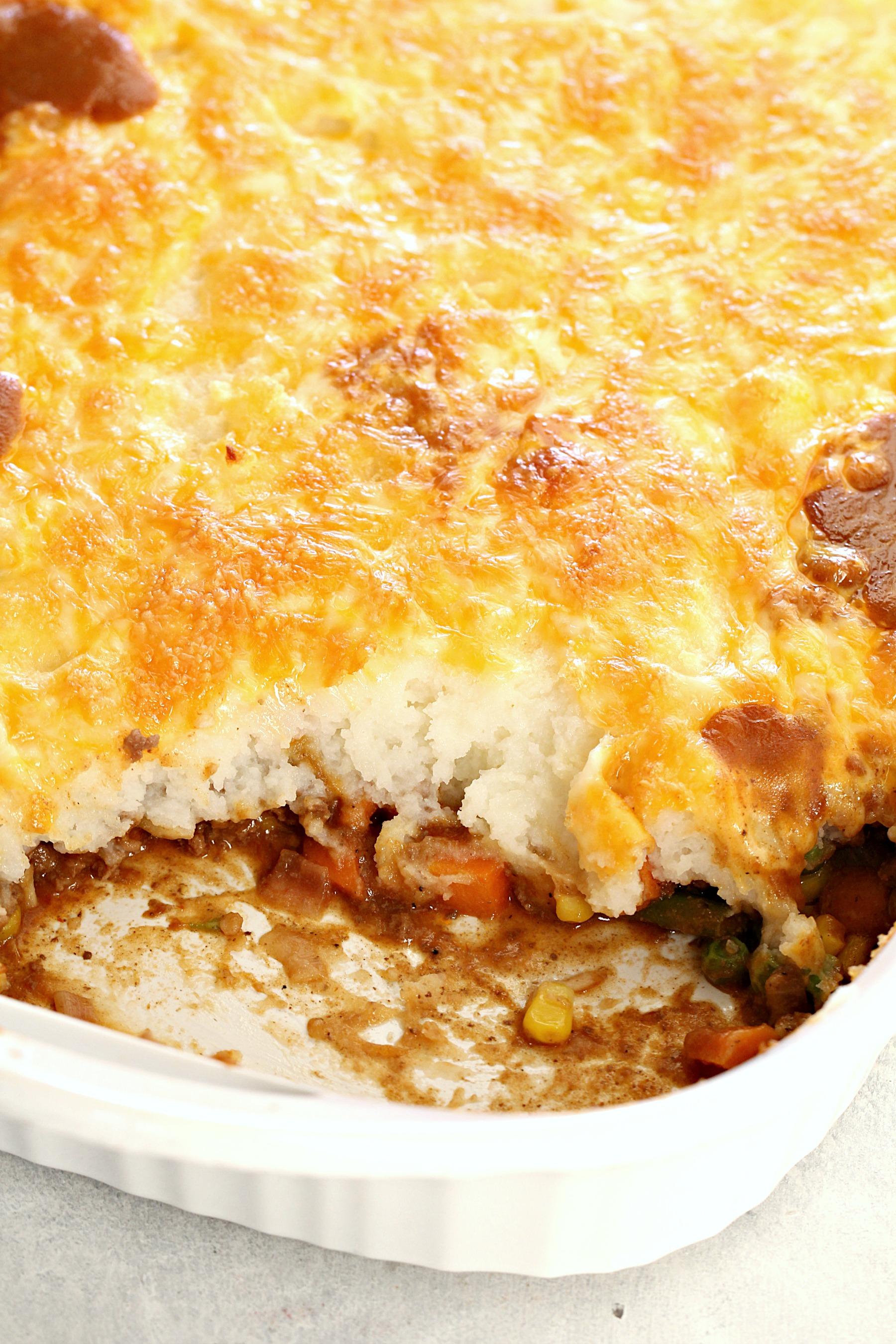 Shepherd's Pie in white dish