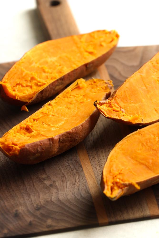 Sweet Potatoes cute in half