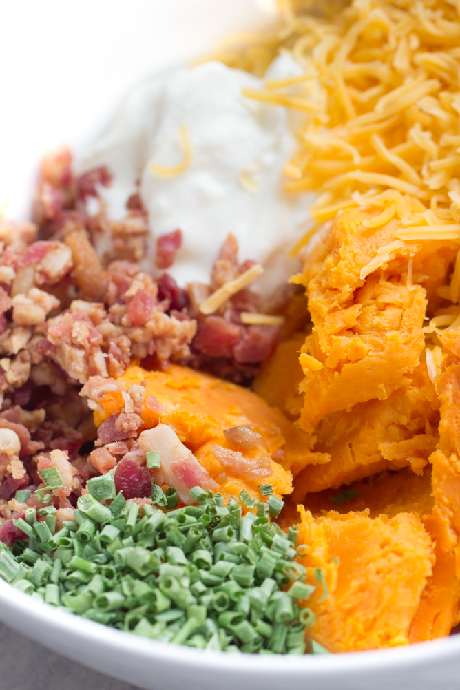 Cheese, chives and Bacon mixed with a sweet potato