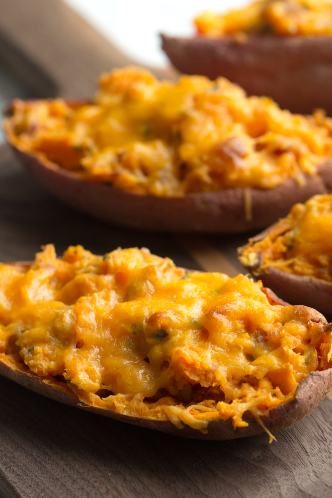 Twice Baked Sweet Potatoes with melted cheese on top