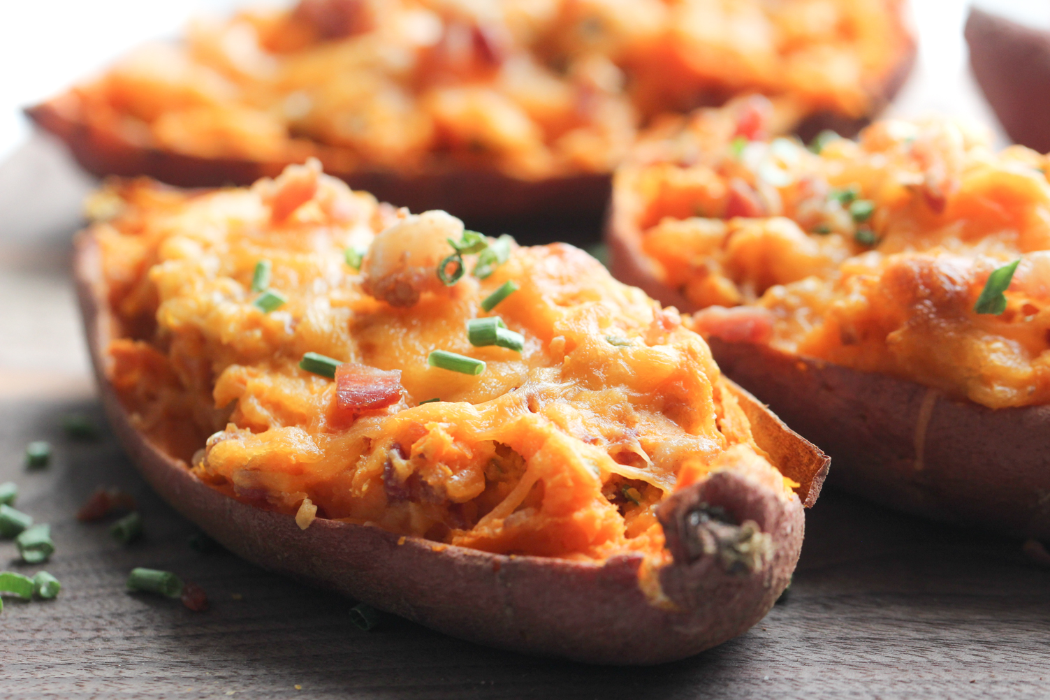 Twice Baked Bacon and Chive sweet potatoes