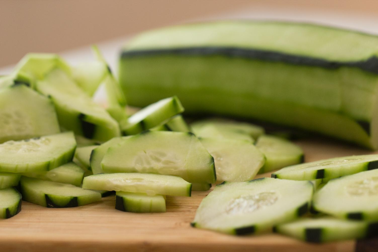 Cucumber peeled and sliced