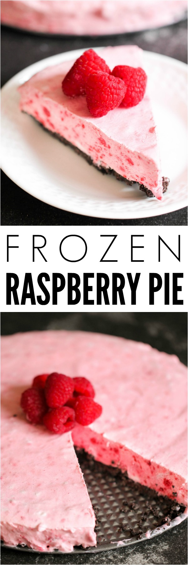 Frozen Raspberry Pie Slice on a white plate topped with fresh raspberries