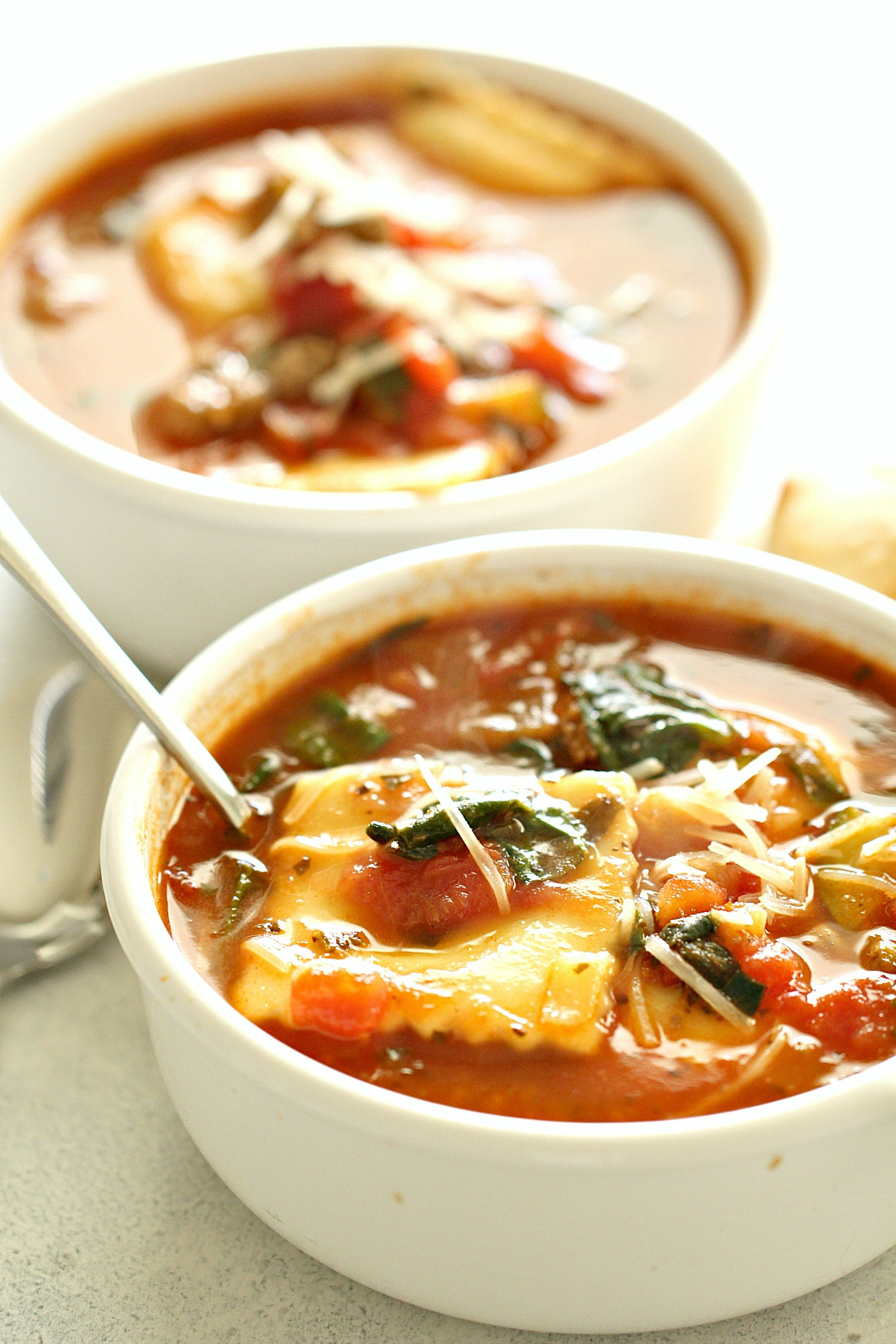 Ground Turkey Sausage Ravioli Soup