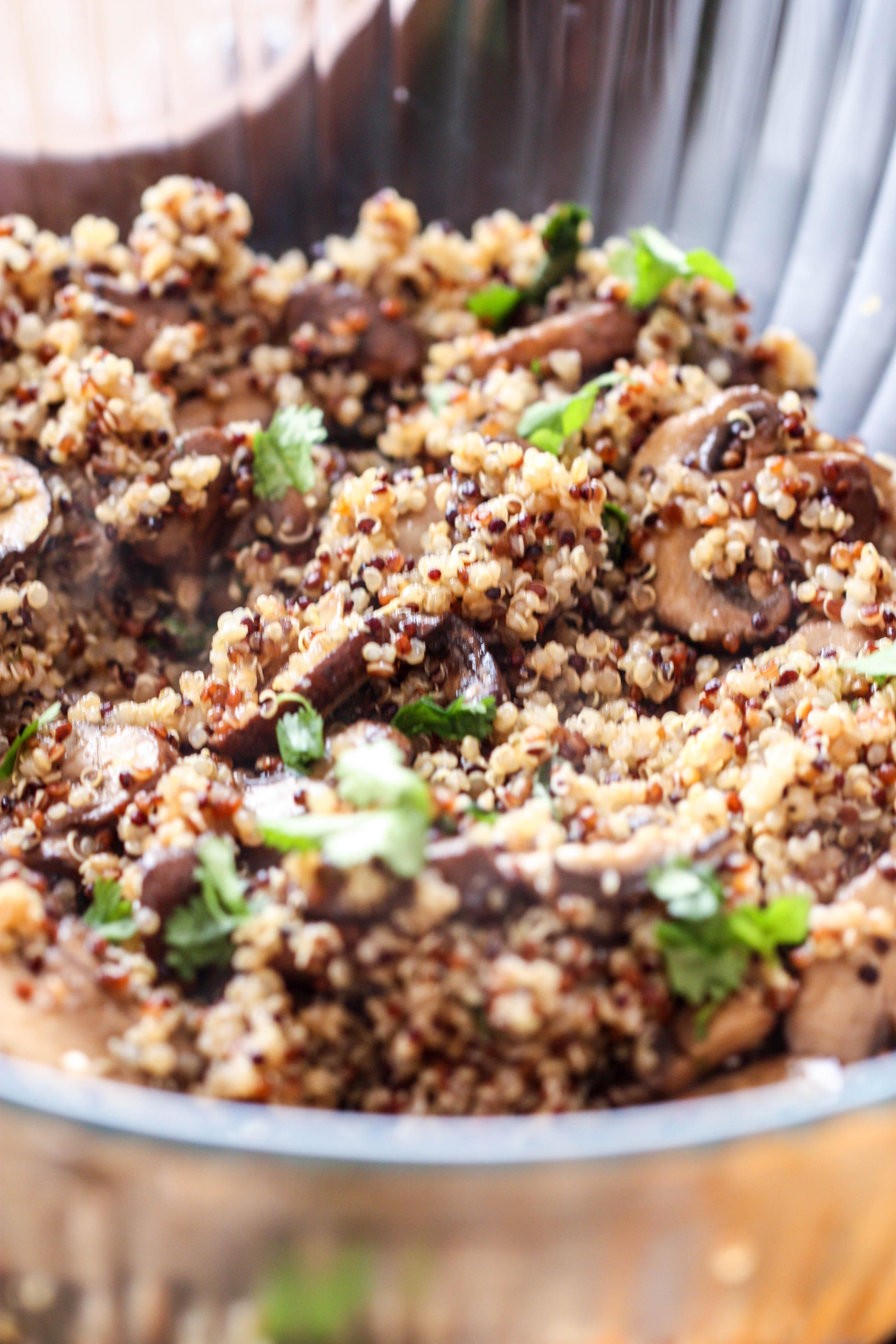 Mushroom and Garlic Quinoa
