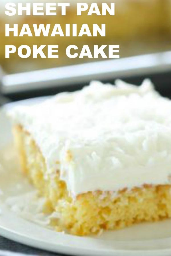 Slice of Sheet Pan Hawaiian Poke Cake on a white plate