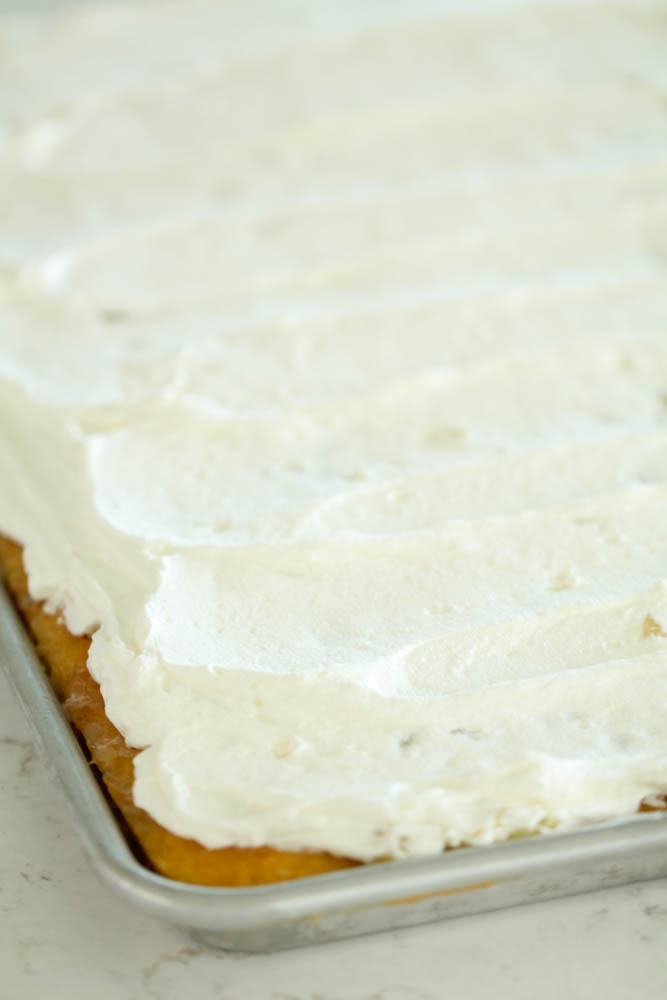 Yellow cake topped with flavored whipped cream