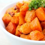 baked butternut squash in serving dish