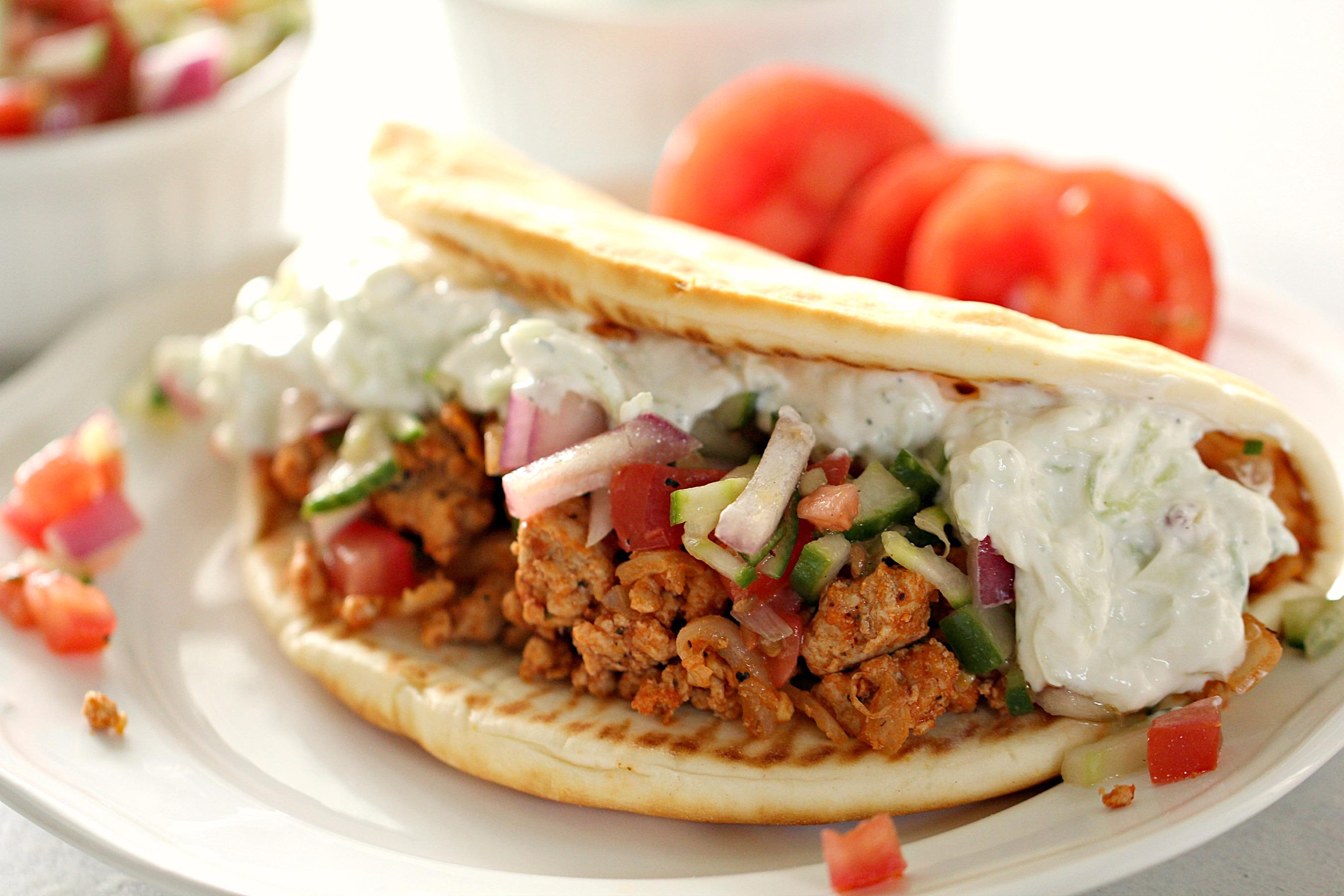 Ground Turkey Greek Tacos with Tzatziki sauce