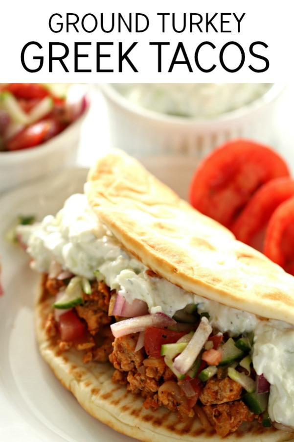 Ground Turkey Greek Tacos with Tzatziki