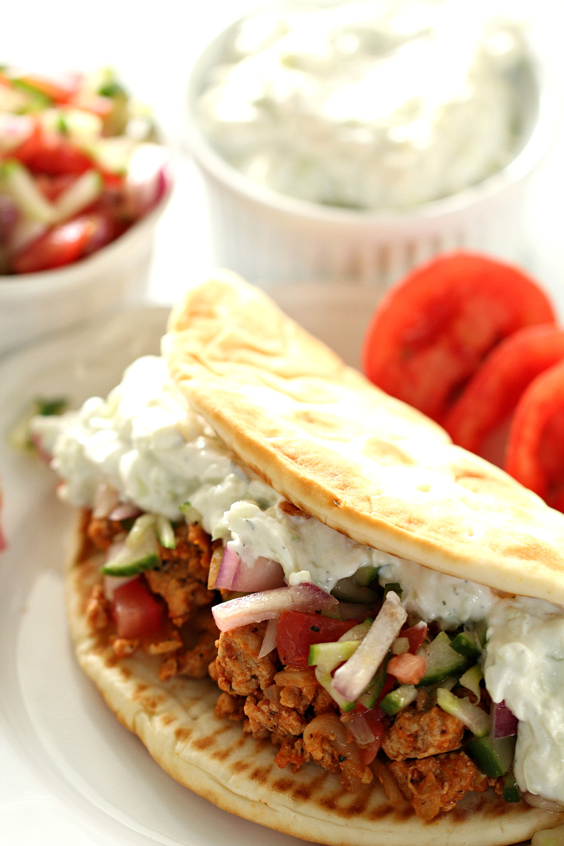 Ground Turkey Greek Tacos with Tzatziki
