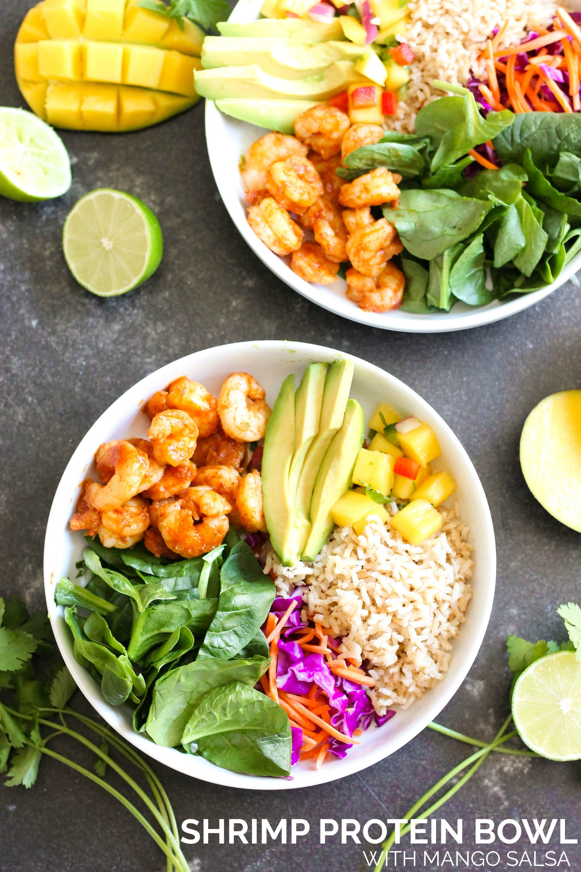 Shrimp Protein Bowls with Mango Salsa in a white bowl