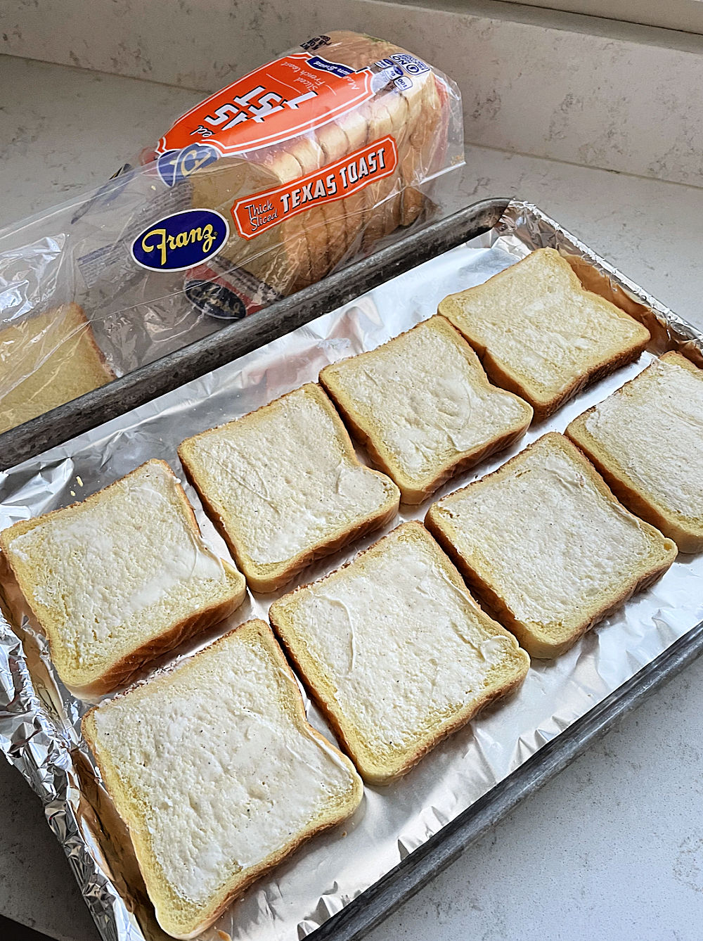Franz Texas Toast on foil covered sheet pan