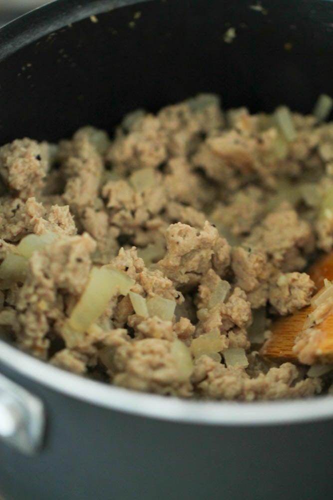 Browned ground turkey in pan