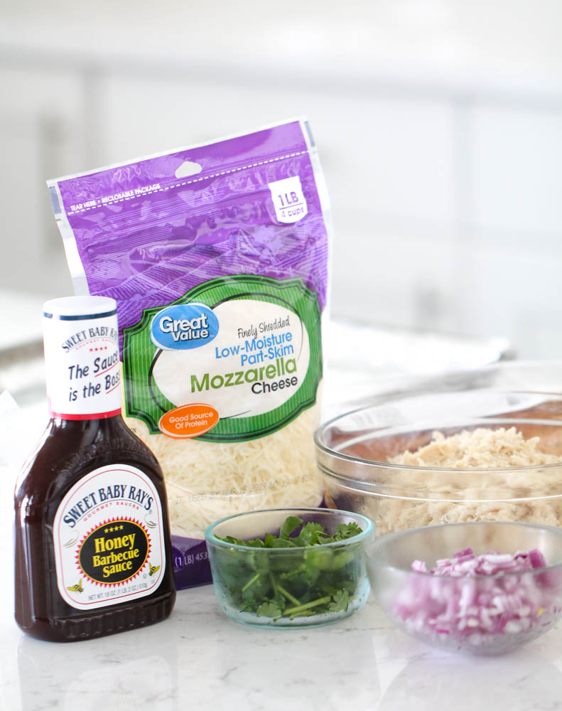 Ingredients for BBQ Chicken French Bread Pizza