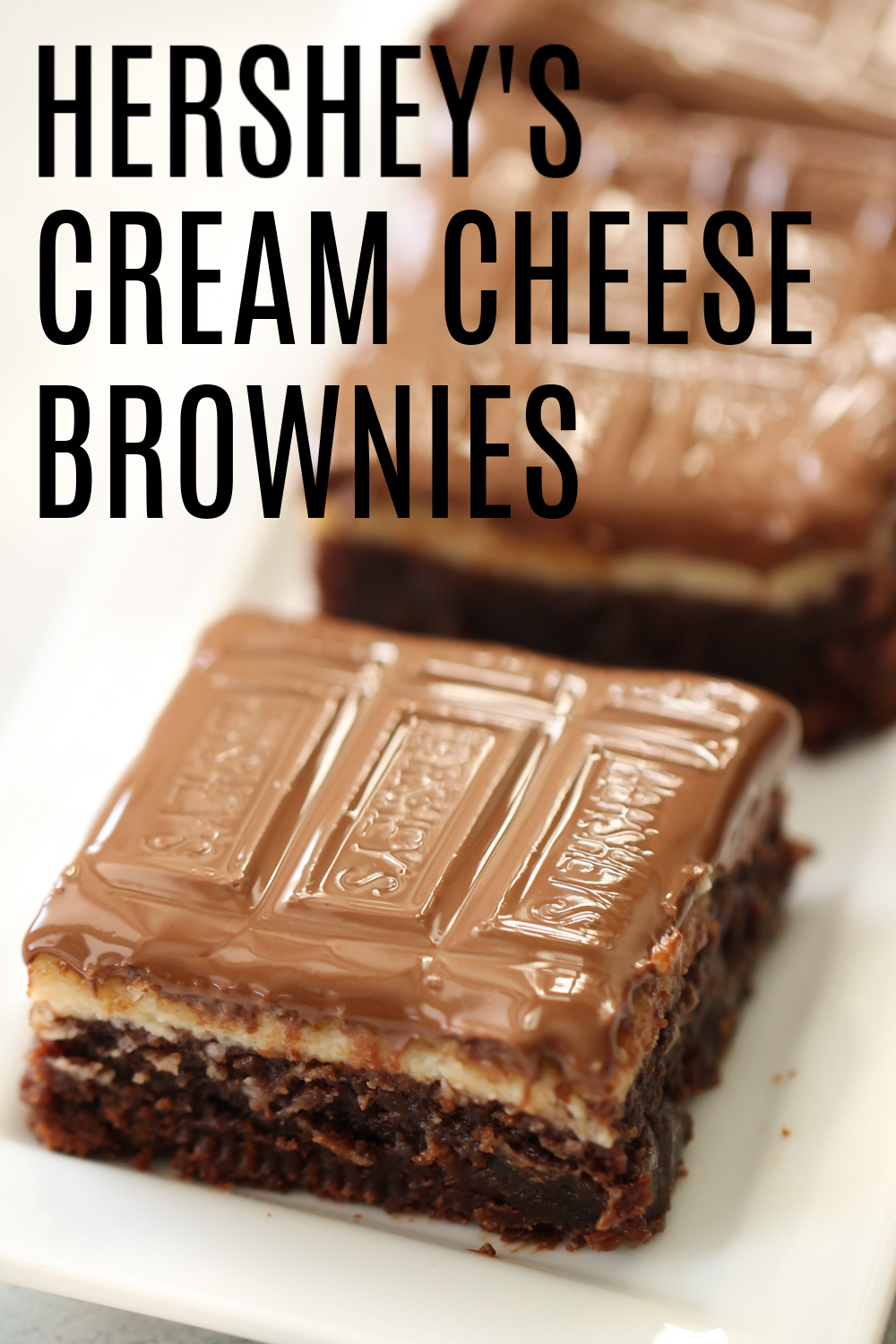 Hershey's Cream Cheese Brownie square on a white dish