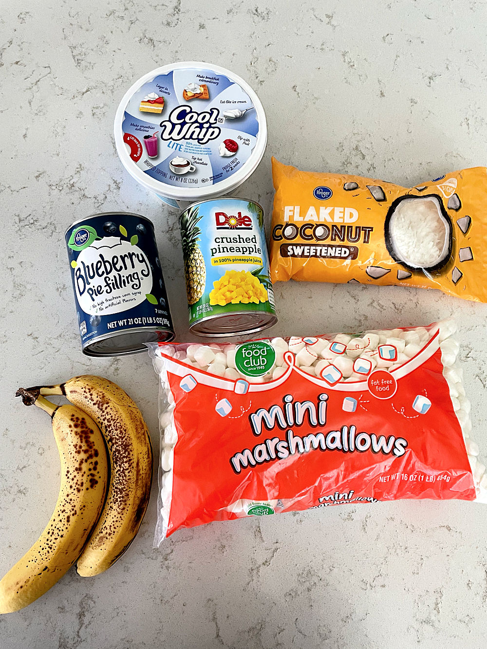 Ingredients needed for Blueberry Fluff Salad Recipe