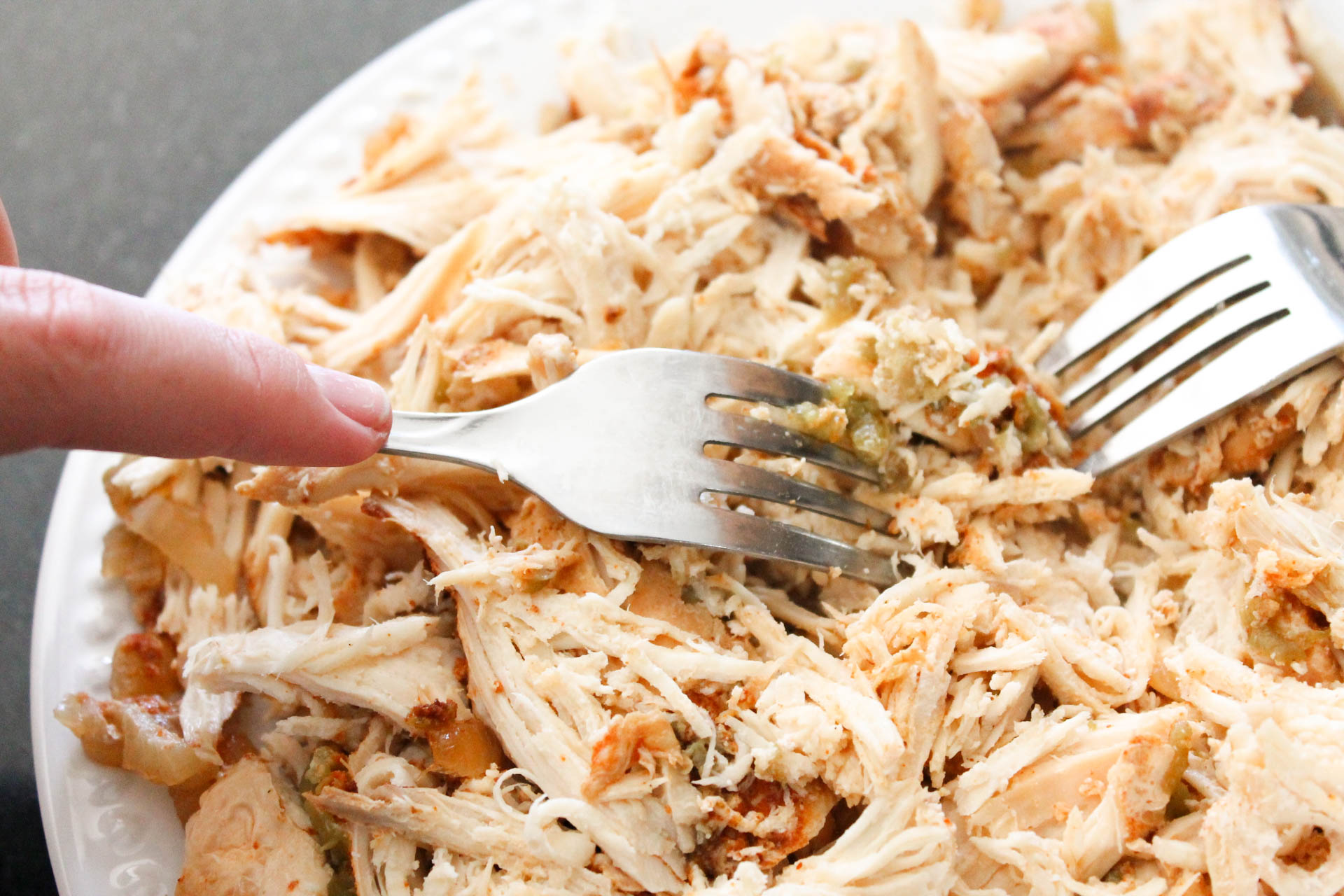 Shredded chicken for Slow Cooker Cheesy Chicken Enchiladas