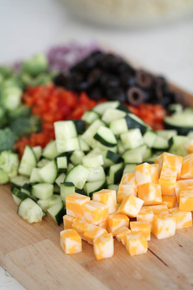 Chopped Veggies and Cheese for Creamy Pasta Salad