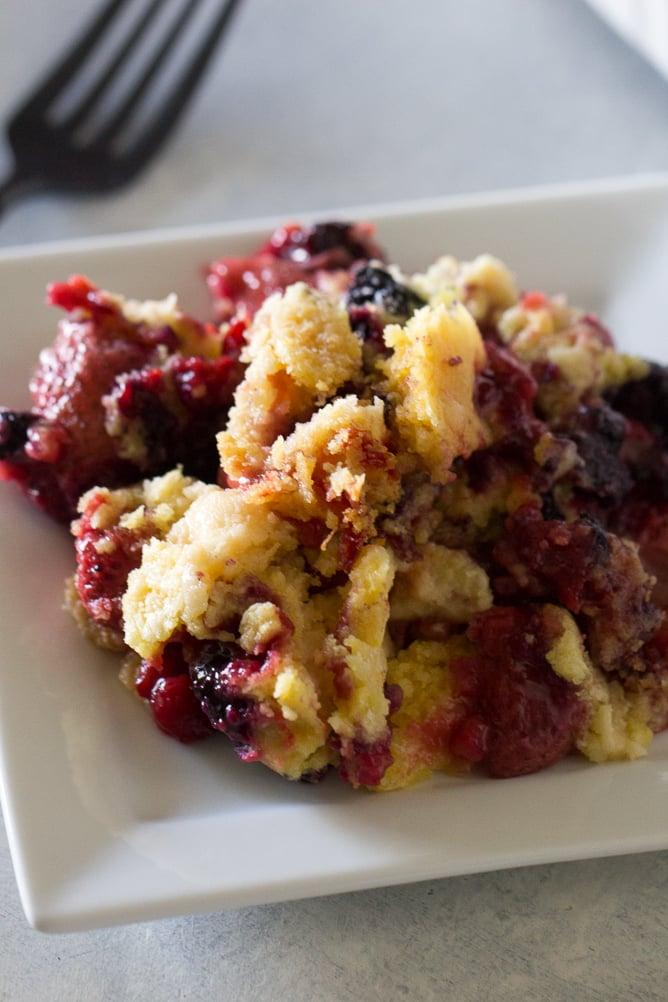 One Pan Triple Berry Cobbler Recipe