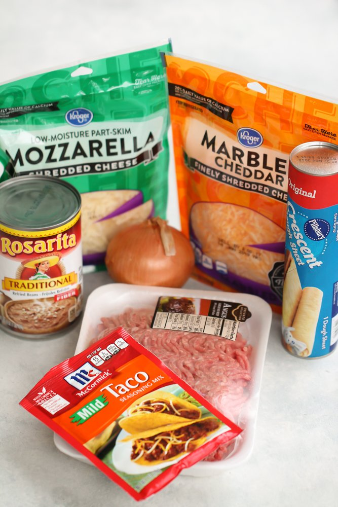 Ingredients for Crescent Roll Burrito Bake