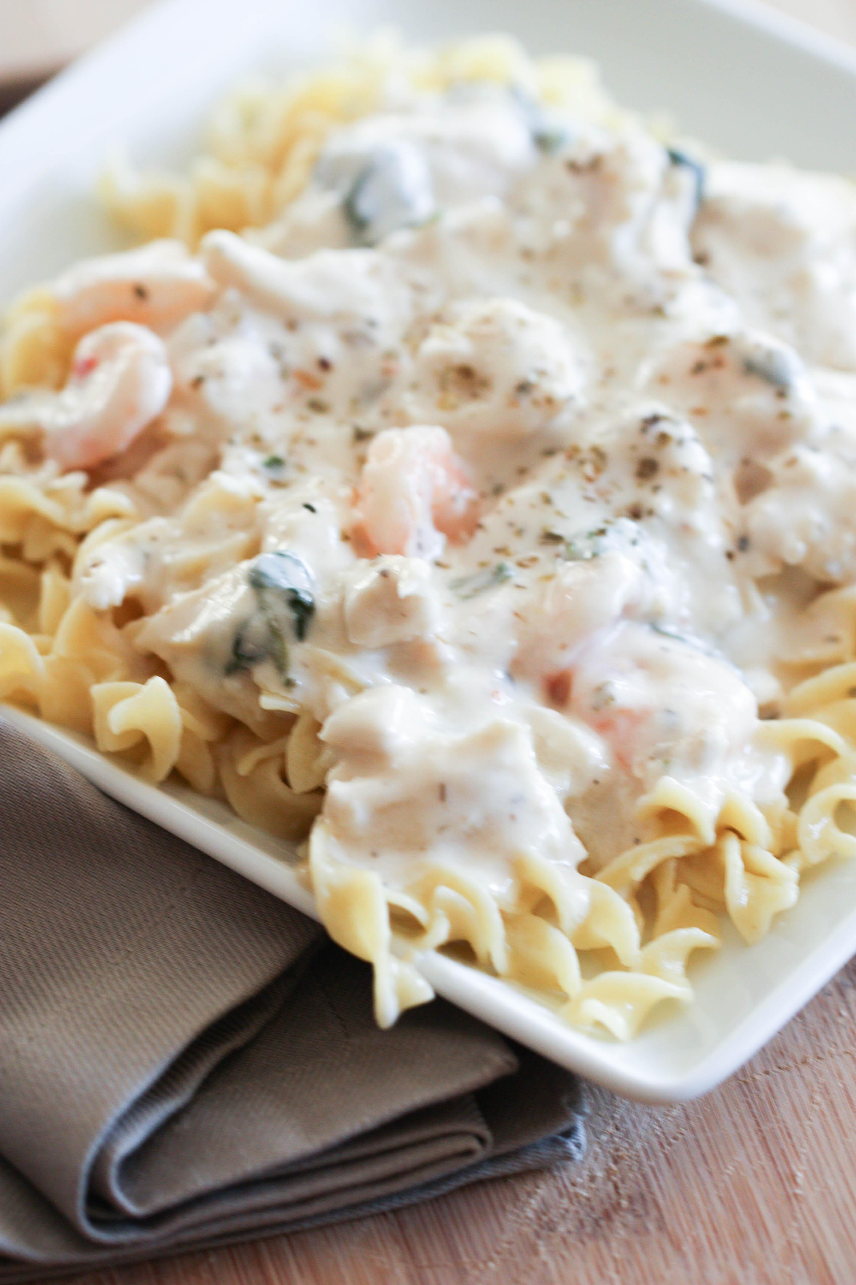 Chicken and Shrimp Carbonara Recipe