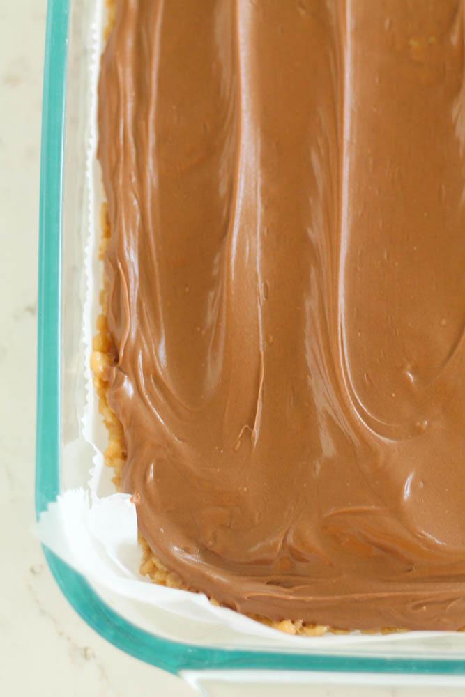 No Bake Scotcheroos in a pan