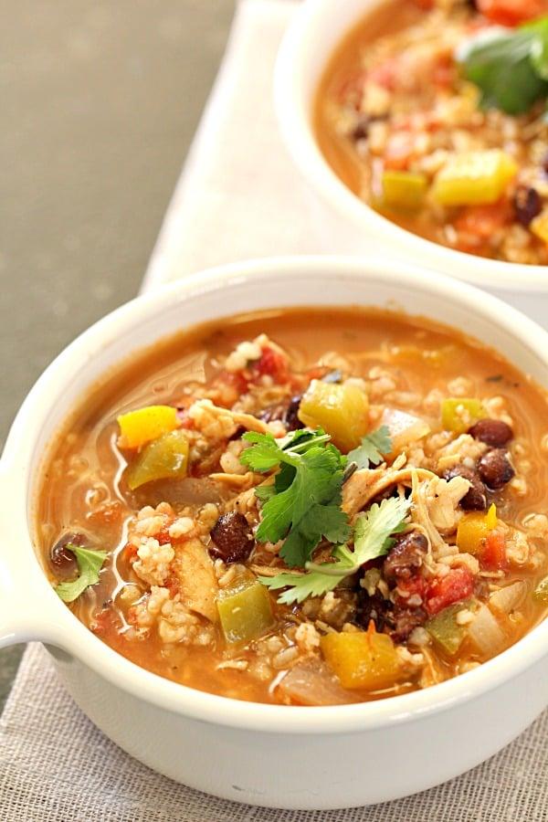 Slow Cooker Healthy Chicken Fajita Soup