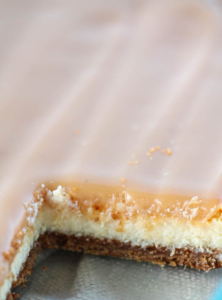 Slice of Caramel Cheesecake Bars