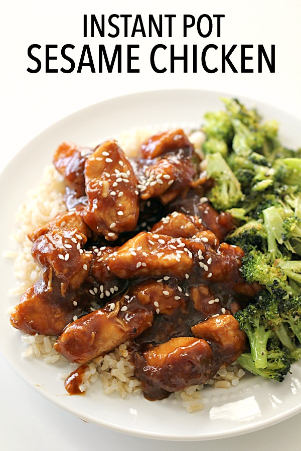 Instant Pot EASY Sesame Chicken and Rice on a plate served with broccoli