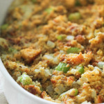 Homemade Corn Bread Dressing Recipe in pan