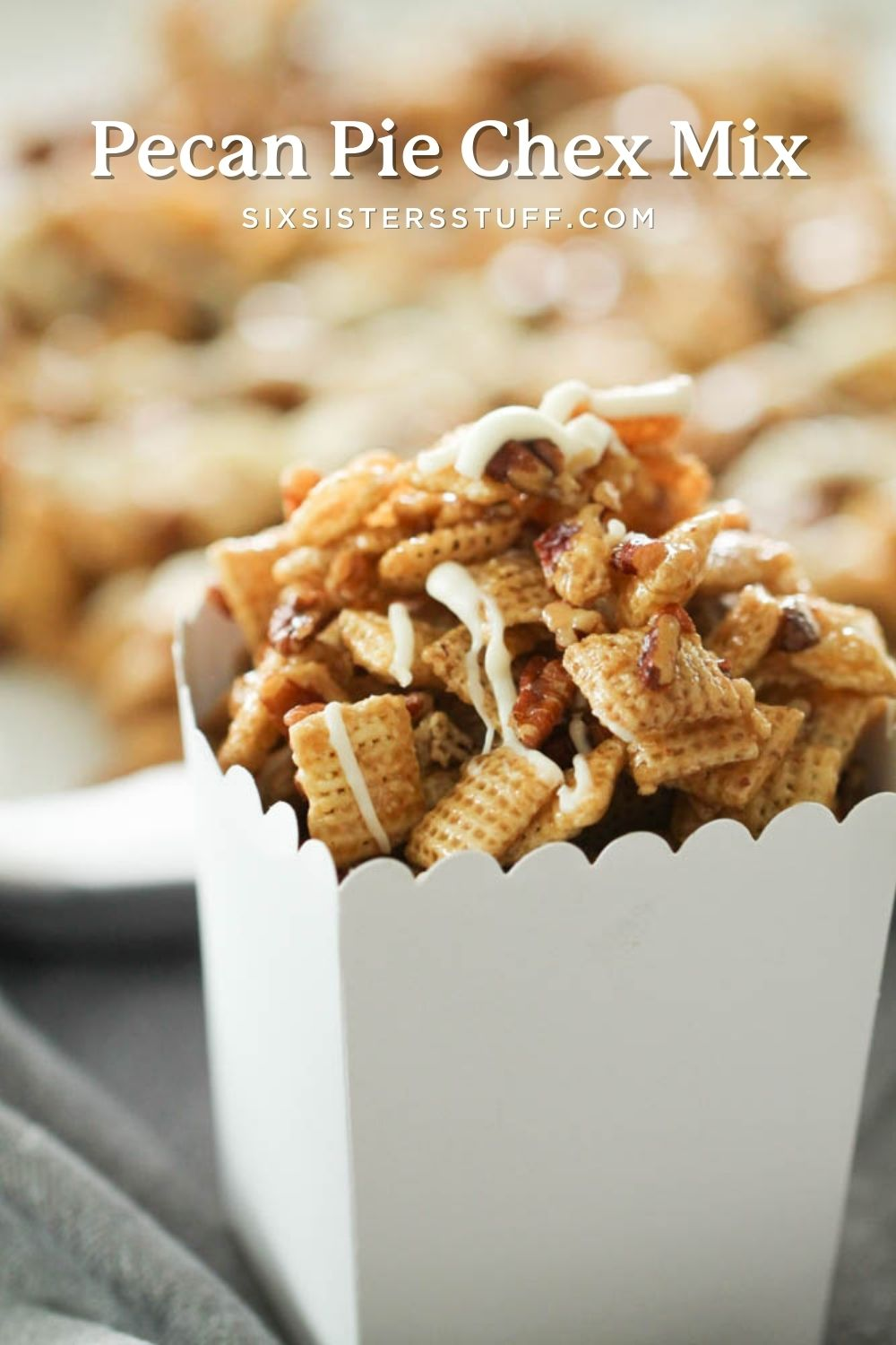 pecan pie chex mix in a white serving container