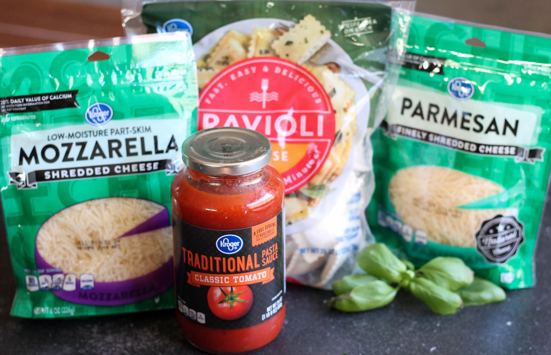 5 Ingredients in Ravioli Lasagna, cheese, sauce, and frozen ravioli